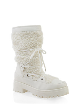 Sherpa Lace Up Boots by Rainbow