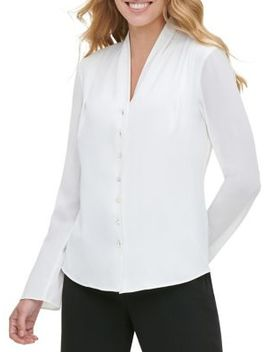 Pleat Neck Button Front Blouse by Tommy Hilfiger