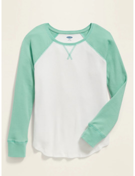 Color Blocked Thermal Knit Raglan Sleeve Tee For Girls by Old Navy