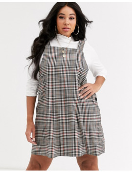 New Look Curve Pinny Dress In Dogtooth Check by New Look