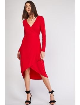 Dark Red Dip Hem Wrap Dress by Everything5 Pounds