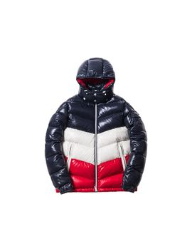 Kith Moncler Rochebrune Classic Down Jacket Navy/Red/White by Stock X