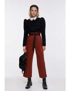 Pantaloni A Vita Alta Con Cintura by Zara