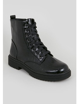 Patent Croc Lace Up Worker Boots by Matalan