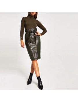 Khaki Faux Leather Paperbag Midi Skirt by River Island