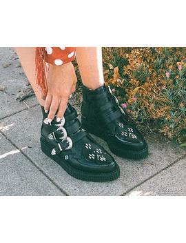 Black Tu Kskin™ Western Buckle Pointed Boot by Tuk