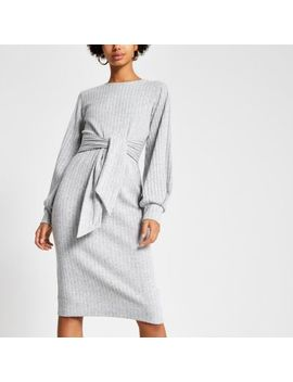 Grey Ribbed Tie Front Jersey Dress by River Island