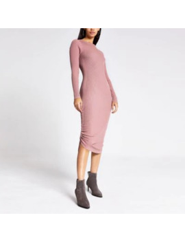 Dark Pink Ribbed Ruched Side Dress by River Island
