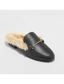Women's Rebe Faux Leather Fur Backless Mules   A New Day™ Black by A New Day