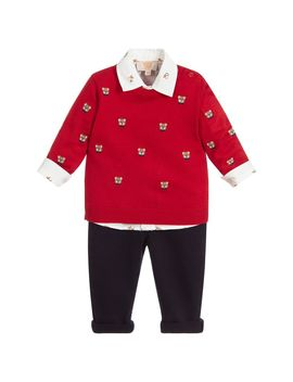 Red & Blue 3 Piece Trouser Set by Caramelo Kids
