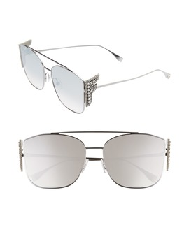62mm Oversize Mirrored Flat Front Sunglasses by Fendi