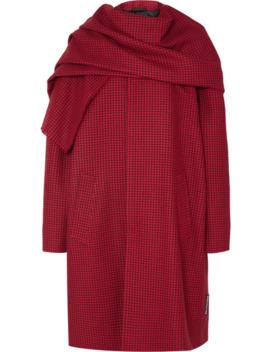 Draped Houndstooth Wool Coat by Balenciaga