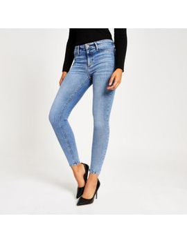 Blue Molly Mid Rise Jeggings by River Island