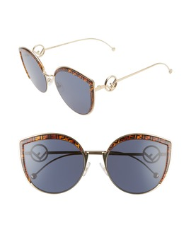 58mm Metal Butterfly Sunglasses by Fendi