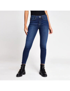 Dark Blue Amelie Mid Rise Super Skinny Jeans by River Island