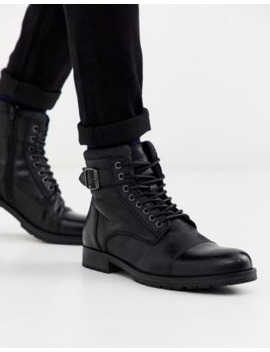 Jack &Amp; Jones Leather Lace Up Boots In Black by Jack & Jones