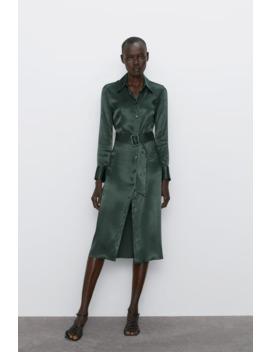Vestido Midi Acetinado by Zara