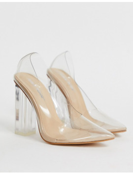Public Desire Alluring Clear Block Heeled Shoes In Beige Patent by Public Desire