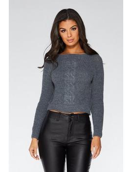 Grey Cable Knit Crop Jumper by Quiz