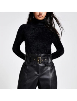 Black Roll Neck Cropped Fluffy Knit Jumper by River Island