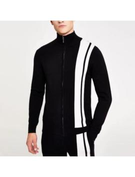 Black Stripe Funnel Neck Knitted Jacket                                    Black Stripe Slim Fit Knitted Jogger by River Island