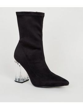 Black Suedette Clear Heel Sock Boots by New Look
