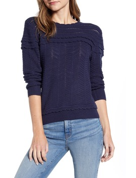 Crewneck Scalloped Pointelle Sweater by J.Crew
