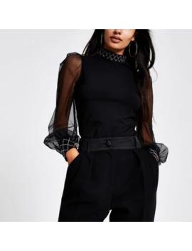 Black Embellished Trim Long Sheer Sleeve Top by River Island