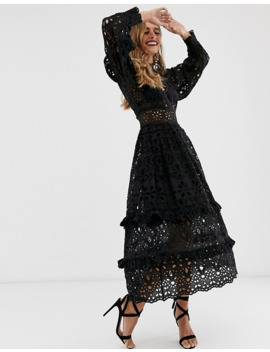 Asos Edition Broderie Midi Dress With Balloon Sleeves by Asos Edition
