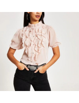 Pink Ruffle Front Short Sleeve Top by River Island