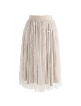 Surely Sweet Pearls Mesh Skirt In Cream Surely Sweet Pearls Mesh Top In Cream by Chicwish