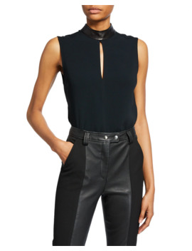 dallas-sleeveless-collared-keyhole-top by alc