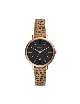 Jacqueline Three Hand Date Faux Cheetah Hair Leather Watch by Fossil