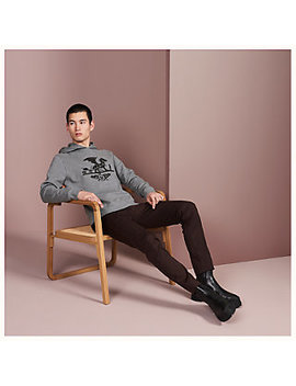 """""""Ex Libris Dragon"""" Hooded Sweater With Leather Patch Detail by Hermès"""