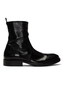 Black Washed Leather Zip Up Boots by Officine GÉnÉrale