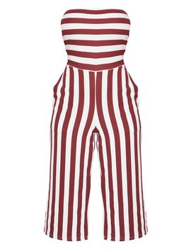 Petite Burgundy Contrast Stripe Bandeau Culotte Jumpsuit  by Prettylittlething