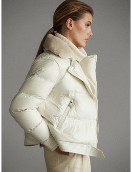 Biker Down Jacket With Natural Fuzzy Hair by Massimo Dutti