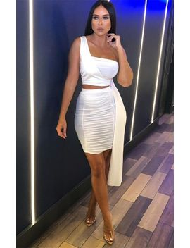 White One Shoulder Top & Skirt Co Ord   Ceris by Femme Luxe