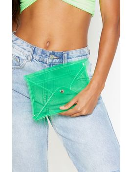 Neon Green Transparent Envelope Clutch Bag by Prettylittlething