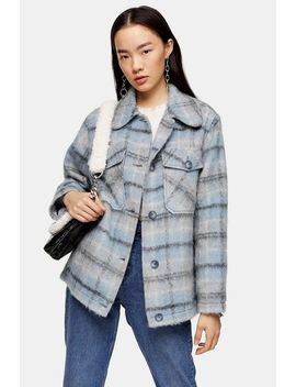 Blue Check Jacket by Topshop