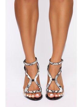 Read Your Mind Heeled Sandals   Black Snake by Fashion Nova