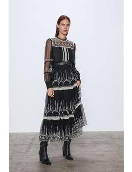 Tiulowa Sukienka Z Haftem by Zara