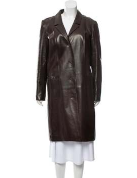 Leather Knee Length Coat by Chanel