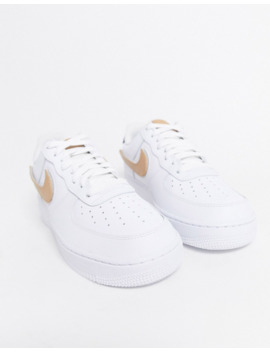 Nike Air Force 1 Trainers In White With Interchangeable Swooshes by Nike