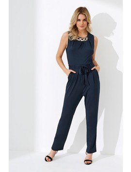 Yumi Chain Neck Trim Jersey Jumpsuit by Next