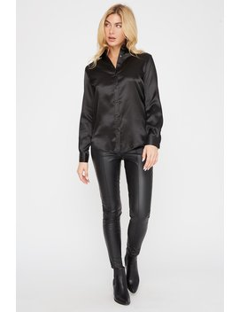 Satin Button Up Long Sleeve Shirt by Urban Planet