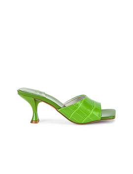 Mr Big Heel In Green Croc by Jeffrey Campbell