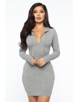 Look At Me Hooded Mini Dress   Grey by Fashion Nova