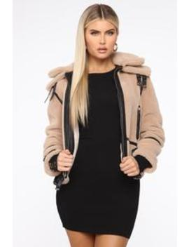 Can I See You Again Fuzzy Coat   Taupe/Black by Fashion Nova