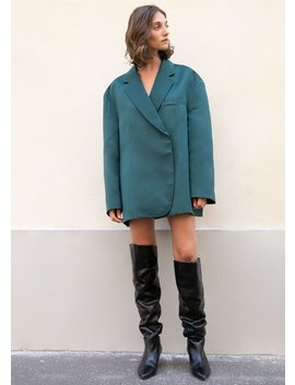 Oversized Satin Blazer In Forest Green by The Frankie Shop